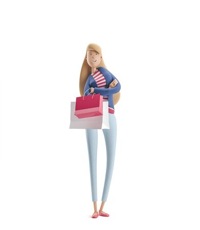 Young business woman Emma standing with bags from stores on a white background. 3d illustration Reklamní fotografie - 128586398
