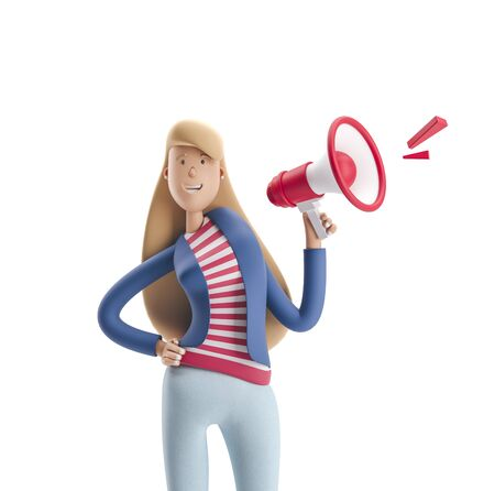 Young business woman Emma standing with speaker on a white background. 3d illustration Reklamní fotografie - 128586413