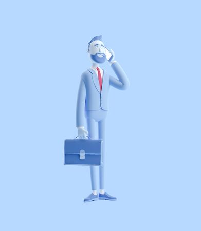 Cartoon character Billy with a case talking on phone. 3d illustration. Businessman Billy in blue color.