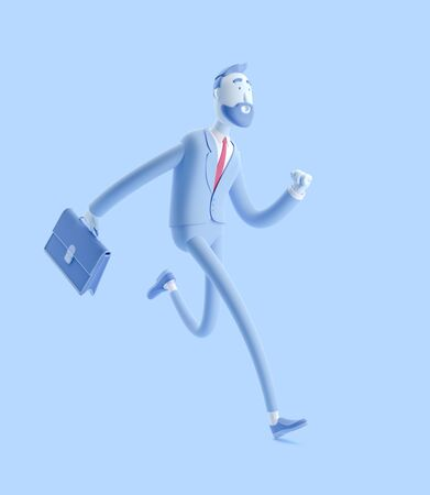 Cartoon character Billy with a case running. 3d illustration. Businessman Billy in blue color.