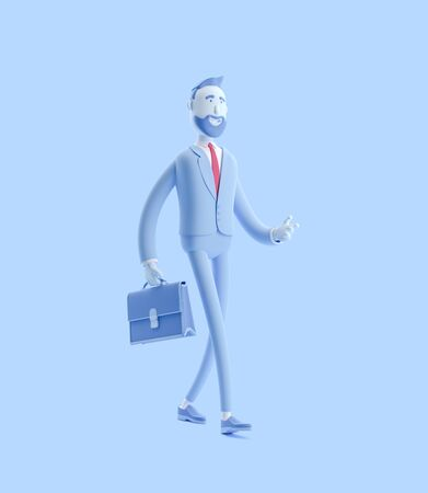 Cartoon character Billy with a case walking. 3d illustration. Businessman Billy in blue color. Stok Fotoğraf