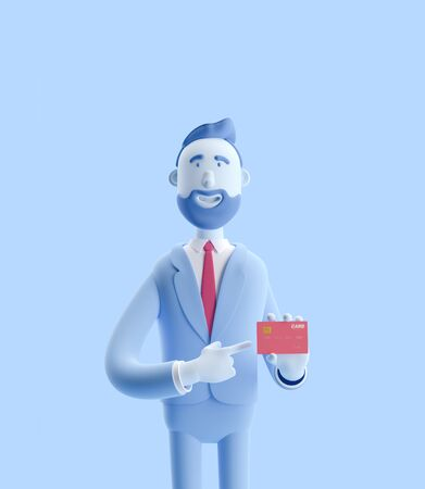 cartoon character smile and holding credit card. 3d illustration. Businessman Billy in blue color.