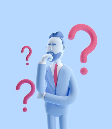 Cartoon character Billy looking for a solution. 3d illustration. Businessman Billy in blue color.