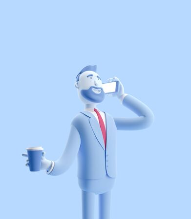 cartoon character talking on the phone and holding coffee. 3d illustration.Businessman Billy in blue color. Zdjęcie Seryjne