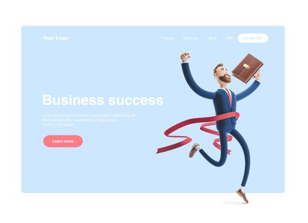 Cartoon character Billy winning the competition. Successful businessman. 3d illustration.Web banner, start site page, infographics, Business success concept.