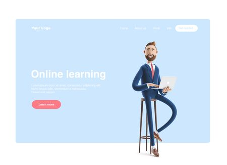 Portrait of a handsome cartoon character with laptop. 3d illustration. Web banner, start site page, infographics, online business concept. Stockfoto