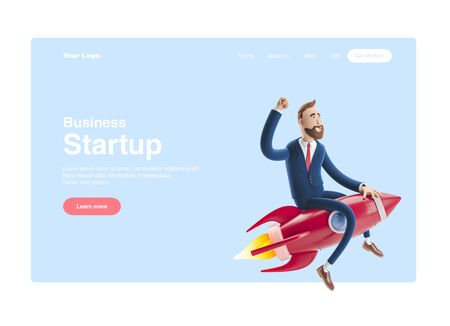 Businessman Billy flying on a rocket up. 3d illustration. Concept of  business startup, launching of a new company. Web banner, start site page, infographics, concept.
