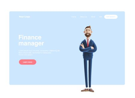 Portrait of a handsome cartoon character Billy. 3d illustration Web banner, start site page, infographics, manager concept.