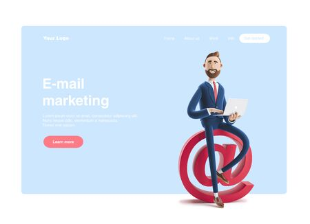Web banner, start site page, infographics, Social media concept..Portrait of a handsome businessman with laptop and at sign. 3d illustration Stockfoto