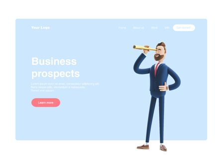 Businessman Billy  looking in future with spyglass. 3d illustration. Web banner, start site page, infographics, business prospects concept. Stockfoto
