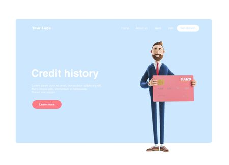 Businessman Billy with pink credit card. 3d illustration. Web banner, start site page, infographics, credit history concept.