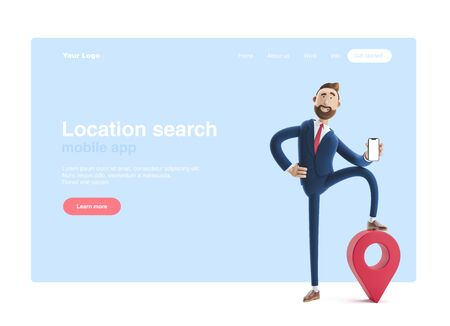 Portrait of a handsome cartoon character with phone and pin. GPS concept. 3d illustration. Web banner, start site page, infographics. Stockfoto