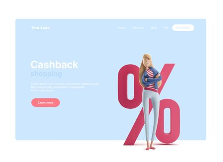Young business woman Emma standing with big percent sign on a blue background. 3d illustration. Web banner, start site page, infographics, cashback or sale concept.