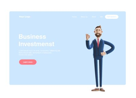 Cartoon character businessman Billy shows okay or OK gesture. 3d illustration. Web banner, start site page, infographics, concept. Zdjęcie Seryjne