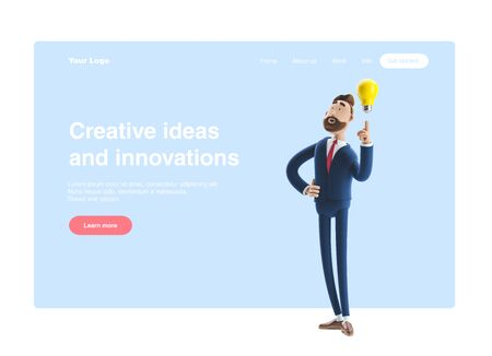 Businessman Billy with yellow bulb. Innovation and inspiration concept. 3d illustration. Web banner, start site page, infographics. Zdjęcie Seryjne