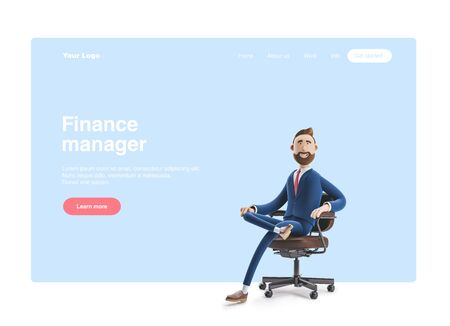 Portrait of a handsome cartoon character. 3d illustration. Web banner, start site page, infographics, office manager concept.