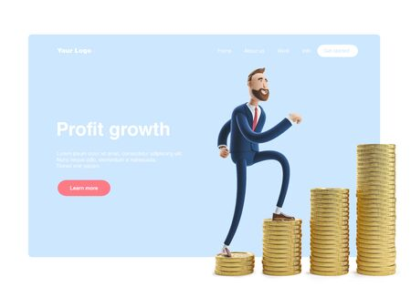 Portrait of a handsome cartoon character Billy with a stack of money. 3d illustration. Web banner, start site page, infographics, profit growth concept. Reklamní fotografie