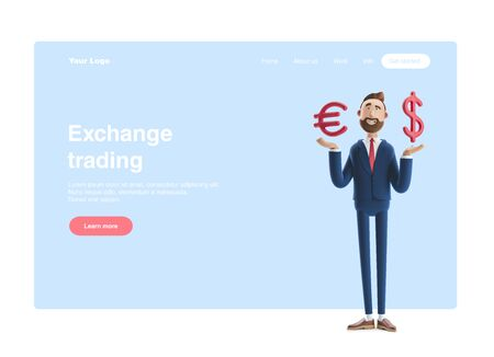 Businessman Billy with big euro and dollar sign. 3d illustration. Web banner, start site page, infographics,  exchange trading concept.