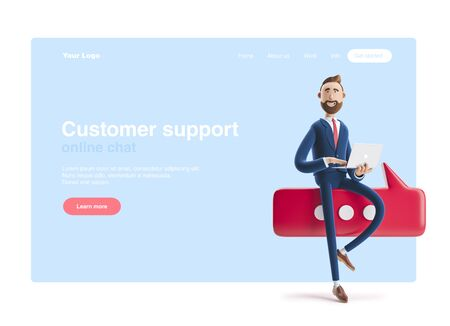 Conversation concept.Portrait of a handsome businessman with laptop and bubble talk. 3d illustration. Web banner, start site page, infographics, customer support concept. Stockfoto - 129263414