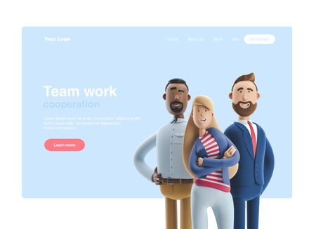 Group of happy cartoon characters standing on a blue background. 3d illustration. Web banner, start site page, infographics, teamwork concept. Reklamní fotografie