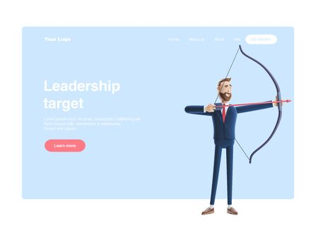 Cartoon character businessman Billy aiming with bow and arrow. 3d illustration. Web banner, start site page, infographics, targeting concept.