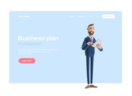 a cartoon character is holding a notebook and smiling. 3d illustration. Web banner, start site page, infographics, business plan concept.
