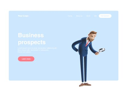 Businessman Billy looking at banknotes through magnifying glass. 3d illustration. Web banner, start site page, infographics, business prospects concept. Reklamní fotografie