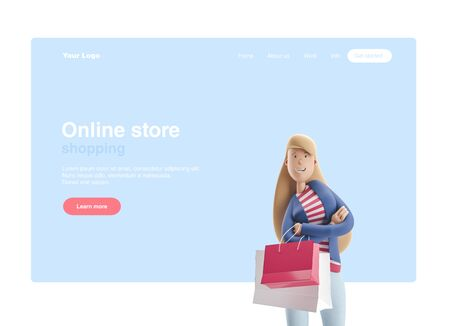 Young business woman Emma standing with bags from stores on a blue background. 3d illustration. Web banner, start site page, infographics, shopping and online shopping concept.