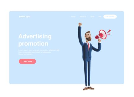 Cartoon character Shouting through loud speaker. 3d illustration. Web banner, start site page, infographics, advertising promotion concept.