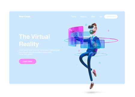 Businessman Billy using virtual reality glasses and touching vr interface. 3d illustration. Web banner, start site page, infographics,  vr concept.