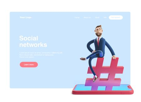 Cartoon character sitting on a hashtag icon. Web banner, start site page, infographics, social media concept. 3d illustration Reklamní fotografie