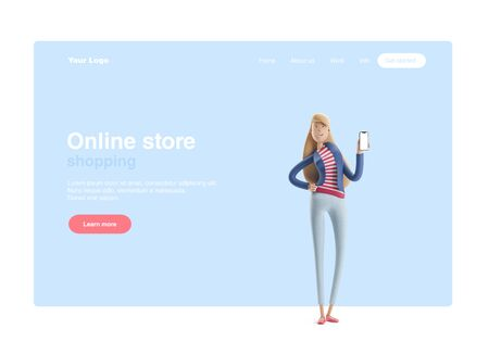 Young business woman Emma standing with phone on  a blue background. 3d illustration. Web banner, start site page, infographics, online shopping concept. Reklamní fotografie