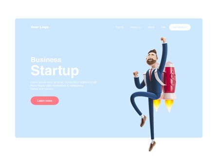 Businessman Billy flying on a rocket Jet pack up. 3d illustration. Concept of  business startup, launching of a new company. Web banner, start site page, infographics, concept.