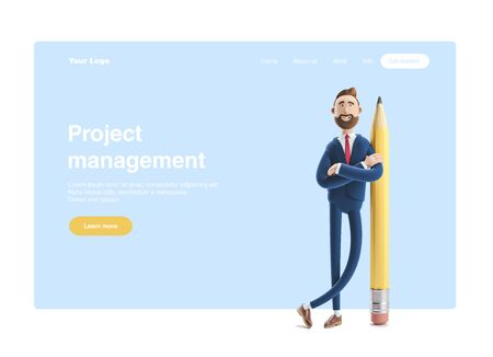Cartoon character Billy with a big pencil. 3d illustration.  Web banner, start site page, infographics,  project management concept. Reklamní fotografie