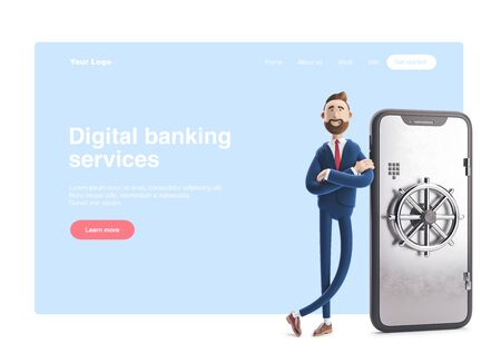 Cartoon character Billy stand with a telephone in the form of a safe. Mobile banking concept. Online Bank. 3d illustration. Web banner, start site page, infographics.