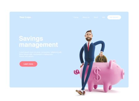 Portrait of a handsome cartoon character with piggy bank. Safe money storage concept. 3d illustration. Web banner, start site page, infographics.