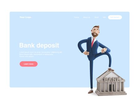 Portrait of a handsome cartoon character with bank building. Banking concept. 3d illustration Reklamní fotografie