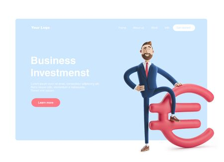 Businessman Billy with big euro sign. 3d illustration. Web banner, start site page, infographics, investments concept. Zdjęcie Seryjne
