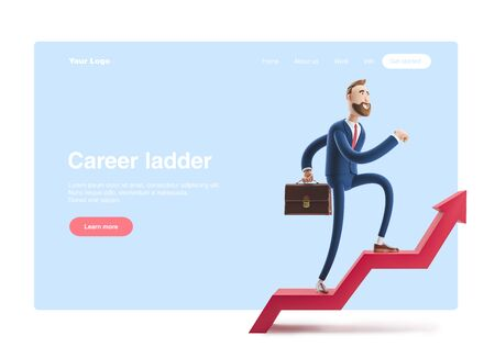 Cartoon character Billy goes to success. 3d illustration. Concept of financial growth. Dashboard with the analysis of finance. Web banner, start site page, infographics, career ladder concept.