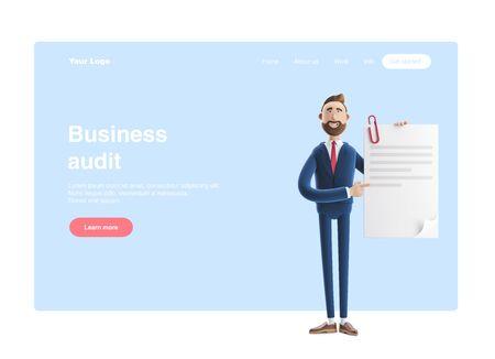 Handsome cartoon character Billy holds a completed document. 3d illustration. Web banner, start site page, infographics, business audit concept.