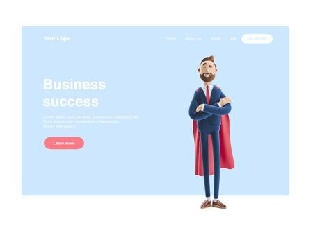 Cartoon character Billy clothed like a superhero. 3d illustration. Web banner, start site page, infographics,  leadership concept. Reklamní fotografie