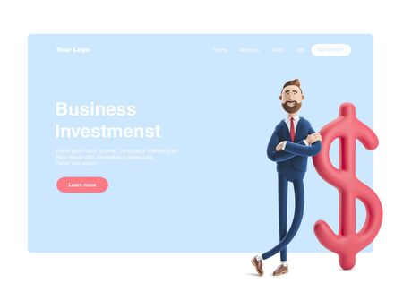 Businessman Billy with big dollar sign. 3d illustration. Web banner, start site page, infographics, investments concept.