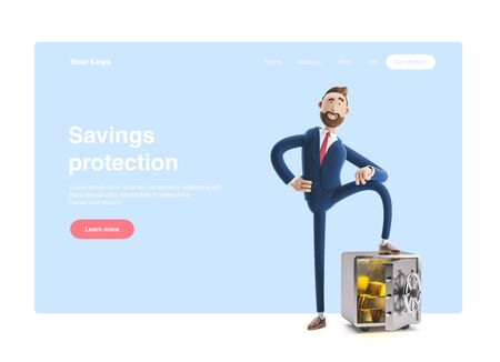 Cartoon character Billy with safe and gold. 3d illustration. Web banner, start site page, infographics, savings protection concept. Reklamní fotografie
