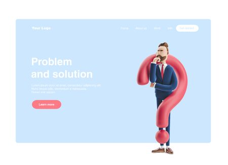 Cartoon character Billy looking for a solution. 3d illustration. Web banner, start site page, infographics, problem and solution concept.