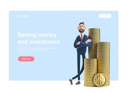 Portrait of a handsome cartoon character Billy with a stack of money. 3d illustration. Web banner, start site page, infographics, saving money and investments concept.