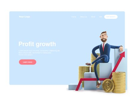 Cartoon character Billy goes to success. 3d illustration. Concept of financial growth. Dashboard with the analysis of finance. Web banner, start site page, infographics. Reklamní fotografie