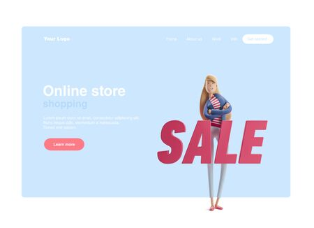 Young business woman Emma standing with big title sale on a blue background. 3d illustration. Web banner, start site page, infographics, shopping concept.