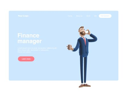 cartoon character talking on the phone and holding coffee. 3d illustration. Web banner, start site page, infographics, office manager concept.