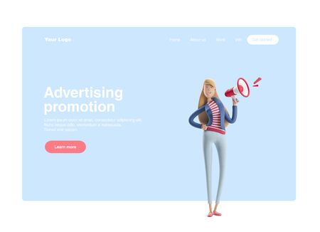 Young business woman Emma standing with speaker on a blue background. 3d illustration. Web banner, start site page, infographics,advertising promotion concept. Reklamní fotografie