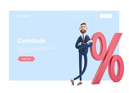 Cartoon character Billy and big percent icon. Concept business interest rate. 3d illustration.  Web banner, start site page, infographics, cashback concept.